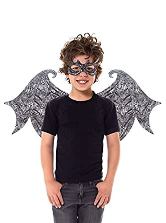 Little Adventures Reversible Dragon Mask and Wing Sets for Boys & Girls - Black