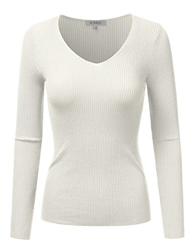 Doublju Fitted Deep V-Neck And Round Neck Ribbed Knit Sweater Top For Women OFFWHITE SMALL