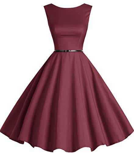 Rockabilly Retro Swing Party Bbonlinedress Women's Vintage Dress Burgundy Cocktail 1950s 56qIcXwI