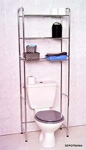 Mueble para ba o de metal cromado con 3 estanterias hogar - Amazon estanterias bano ...