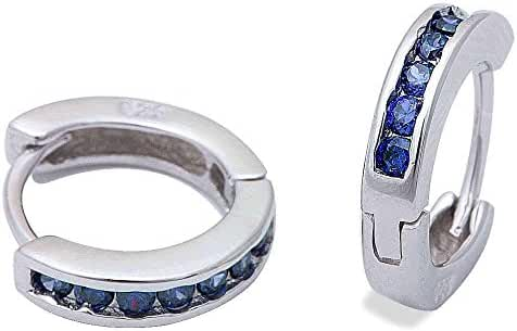 Simulated Round Blue Sapphire Hoop .925 Sterling Silver Earrings