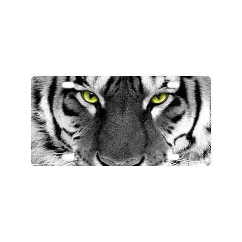 JIJIDA White Tiger Eyes License Plate