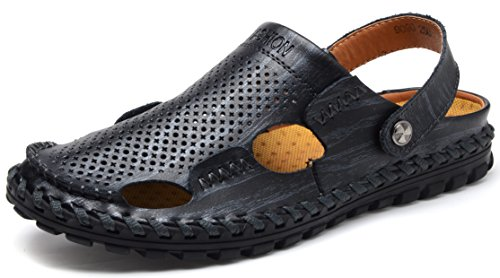 680eb966802f52 Odema Mens Summer Leather Size Plus Closed Toe Slip On Slippers Outdoor  Fisherman Sandals