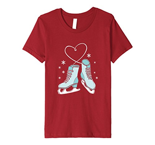 Kids Love Ice Skating Sport Skater Girl Turquoise Skates T-shirt 8 Cranberry (Ice Skater T-shirt)