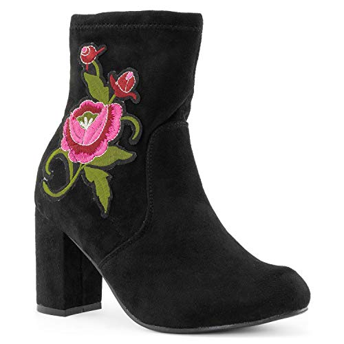 RF ROOM OF FASHION Women's Soft Stretchy Wrapped Chunky Heel Slip On Side Zipper Sock Bootie Ankle Boots Black Faux Suede - 02