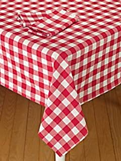 ArtOFabric Italian Styled Red And White Checkered Print Tablecloth. 54  Inches X 54 Inches