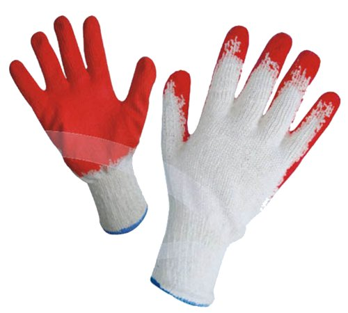 (GF Gloves 3106-300 Economical String Knit Latex Dipped Palm Gloves, Nitrile Coated Work Gloves for General Purpose, One Size, Red (Pack of 300))