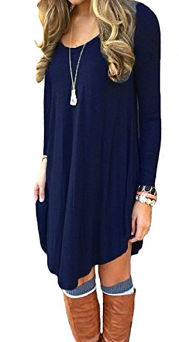 Women's Long Sleeve Casual Loose T-Shirt Dress Navy Blue M Dresses
