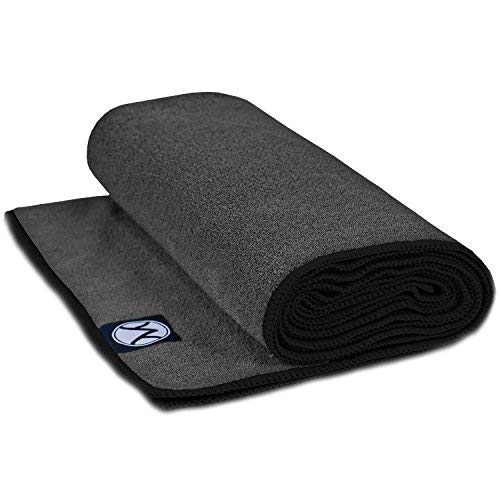 Youphoria Hot Yoga Towel Non Slip & Super Absorbent, Plush Microfiber Yoga Mat Towel for Hot Yoga, Bikram and Yoga Mat Grip, Washable, 24 inches x 72 inches, Gray Towel/Black Trim