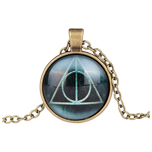Harry Potter Deathly Hallows Print Cabochon Pendant Necklace - Silver, Gold, Bronze