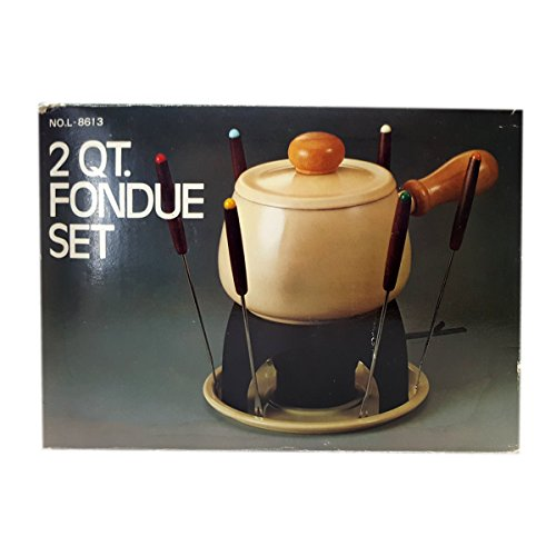 Vintage 1990s Fondue Set 2 Quart Porcelain Enamel On Steel No. L-8613