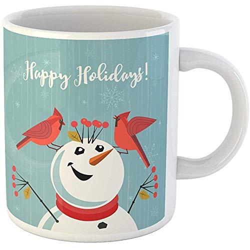 11oz Coffee Mugs Tea Cups Gifts Happy Holidays Red Northern Cardinal Birds Comic Snowman Cute Cartoon Ceramic Coffee Mugs Tea Cup Souvenir