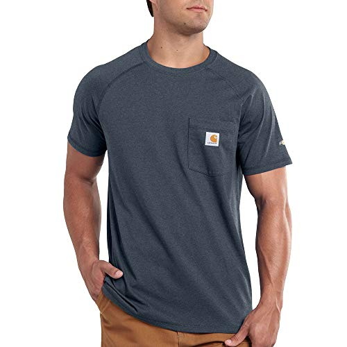 Carhartt Men's Force Cotton Delmont Short Sleeve T Shirt Relaxed Fit, Dark Slate Heather Large -