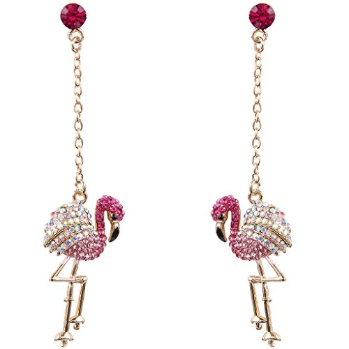 - EVER FAITH Austrian Crystal Art Deco Lovely Flamingo Bird Pierced Dangle Earrings Pink Gold-Tone