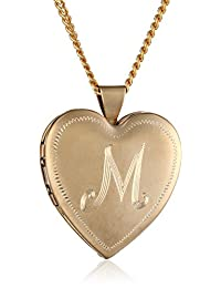 18k Gold-Plated Personalized with Initial Heart Locket Necklace, 24""