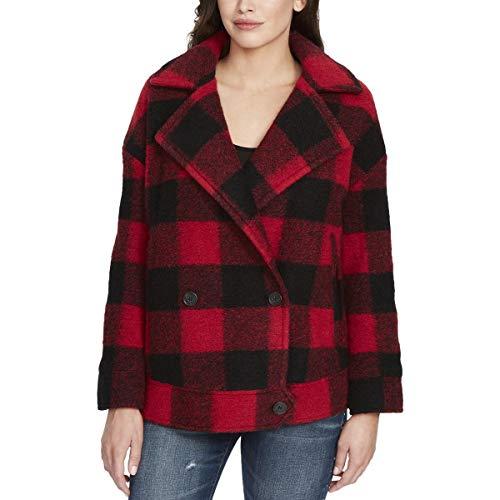 (William Rast Womens Juniors Boyd Fall Wool Blend Pea Coat Red XS)