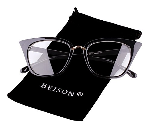 Beison Womens Cat Eye Mod Fashion Eyeglasses Frame Clear Lens (Black, 52)