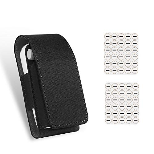 Case Cover PU Leather Carrying Bag Protective Holder for iq-os 3.0 with 2 Pack Oil Absorb Gaskets (Black)