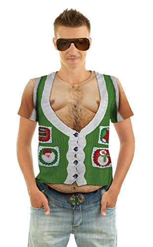 Faux Real Men's Hairy Belly Green Xmas Vest T-Shirt - Small