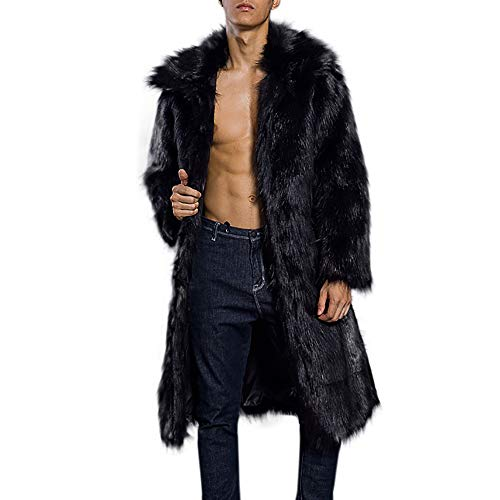 iLXHD Men's Faux Fur Trench Coat Jacket Parka Thicker Warm Outwear Cardigan (Trench Coat Men With Fur Hood)