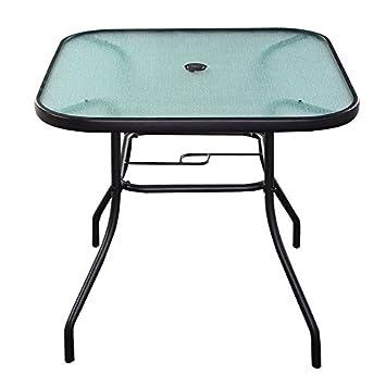 LTL Shop 32 1 2 Patio Square Bar Dining Table Glass Deck Outdoor Furniture Garden