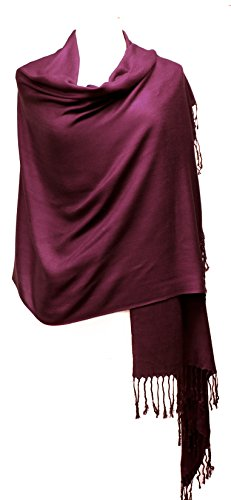 AN Womens Wine Color Pashmina Shawl Wrap Scarf with Tassels