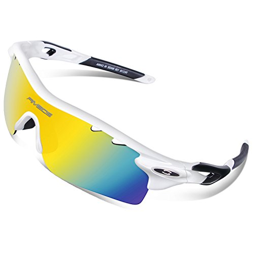 RIVBOS 801 Polarized Sports Sunglasses Sun Glasses with 5 Interchangeable Lenses for Men Women Baseball Cycling Runing TR White&Black