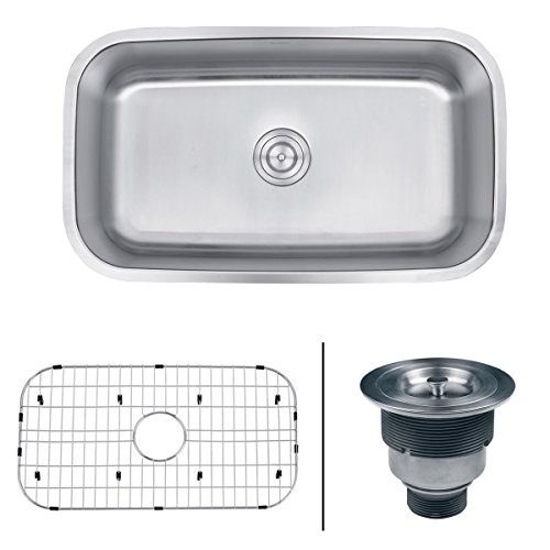 Ruvati 32-inch Undermount 16 Gauge Stainless Steel Kitchen Sink Single Bowl - RVM4200 ()