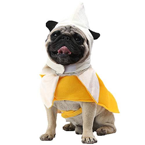 Hpapadks Pet Clothing Banana Dress,Dog Pet Costume Banana Transformed Dress Cosplay Dress Up Standing Clothing