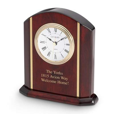 Things Remembered Personalized High Gloss Mahogany Clock with Engraving Included