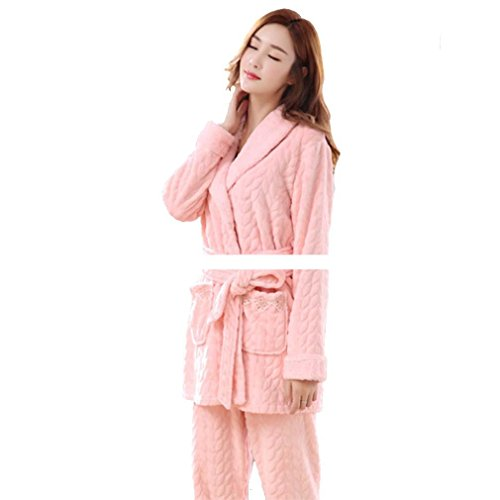 in Sleepwear Long impostato donne powder flanella autunno Lounge inverno e MOXIN shrimp Sleeve donna da di vello Rosa 86381 In addensante invernale dimensioni le xxxl corallo RPqwxtT