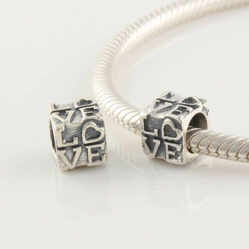 """Andante-Stones perle Bead Argent vieilli 925 Sterling massif """"Love"""" Élément bille pour perles European Beads + Étui en organza"""