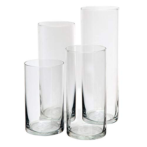 Royal Imports Glass Cylinder Vases Set of 4 Decorative Centerpieces for Home or ()