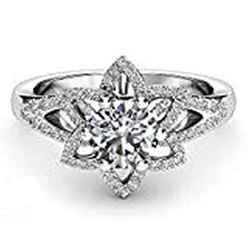 Hyuniture flower Micro-Encrusted Diamond Fashion Crystal Silver Cubic Zirconia Wedding Engagement Ring