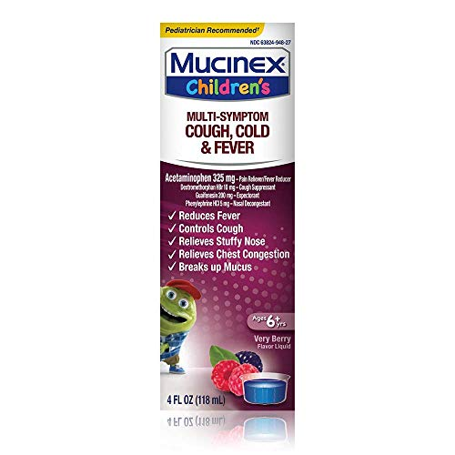 Cough, Cold, and Fever, Mucinex Children's Multi-Symptom Cold and Fever Liquid, Very Berry, 4oz, Reduces Fever, Controls Cough, Relieves Stuffy Nose and Chest Congestion