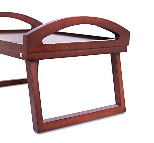 Desk Bed Breakfast Bed with Wide Grip Handles Folding Drink Serving Bed Tray   Antique Walnut