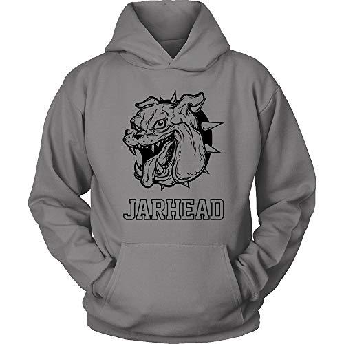 Egoteest Jarhead Hoodie - Marine Sweatshirt Hoodie - Marine Bulldog Mascot Hoodie - Military Shirt - Special Forces (Grey, XLarge) (Marine Bulldog Shirt)