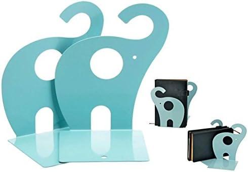 Itian 1 Paar Niedlichen Elefanten Bücherstützen Bookends, Metallkunst Bücherstützen (See-Blau)