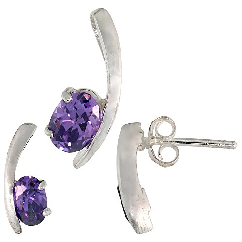 Fancy Colored Stone Sets (Sterling Silver Fancy Kink Earrings (12mm tall) & Pendant (16mm tall) Set, w/ Oval Cut Amethyst-colored CZ Stones)