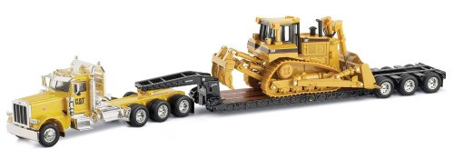 Norscot Peterbilt 389 with Trail King Lowboy Trailer with Cat D8R load 1:50 scale (Diecast Peterbilt Vehicle Trailer Tractor)