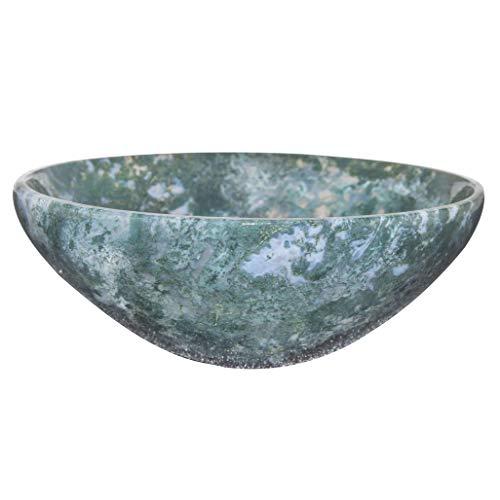 YATHABI Gemstone Carved Bowl for Chakra Balancing Reiki Healing Energy Generator EMF Protection Aura Cleansing Spiritual Meditation Devotional Home Decor (Moss Agate)
