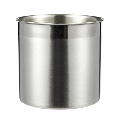 Utensil Holder - Cutlery Caddy Stainless Steel Cooking Utensil Holder for Kitchen Utensil Organizing and Storage, Silver, 5 x 5 Inches