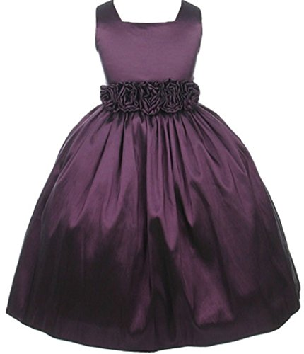 Little Baby Girls Square Neckline Hand Rolled Flowers Girls Dresses Plum Size S (Tea Square Satin Length)