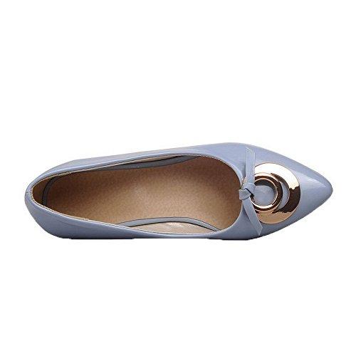 Amoonyfashion Dames Solide Lakleder Lage Hakken Gesloten-teen Pumps-schoenen Lichtblauw