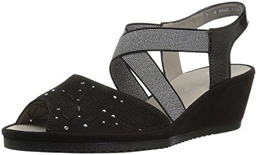 ARA Women's Celia Wedge Sandal, Black Nubuck, 9 M US ()