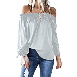 Blouses For Womens Foruu Casual Cold Shoulder Solid Long Sleeve Bownot Shirts Gray