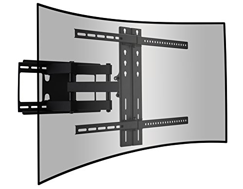 Cattail Curved and Flat TV Wall Mount Dual Articulating Arm Bracket With Full Motion Swing Out Tilt For 42-65 Inch LED LCD OLED Plasma Screen Monitor Up To 110 Lbs VESA 400x600mm, Includes HDMI Cable