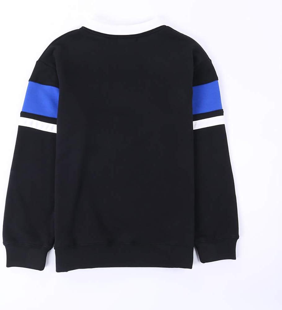 Unisex Neuheit Hoodies Hip Hop-beil/äufige Art lose Plus Gr/ö/ße Unisex Sweatshirt-Farben-Block-Kleidung Pullover,Schwarz,S