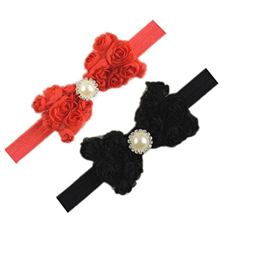 Baby Girls Headbands Lace Rose Bows Pearl Elastic Hair Band Kids with15 colors