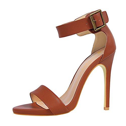 z&dw Zapatos retro tacones sexy Super alto talón cinturón hebilla sandalias Marrón